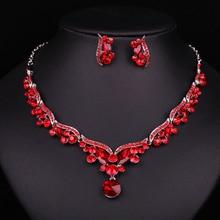 Nueva Moda de Lujo Plateado Cristal Rojo Joyería Nupcial Conjunto Para Las Novias Collar Pendiente Accesorios Del Banquete de Boda Regalo de Las Mujeres