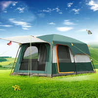 Extérieur 5-8 personnes double couche extérieur 2 salons et 1 hall famille camping tente en grande qualité espace tente