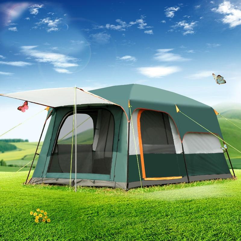 Outdoor 5-8persons doppio strato esterno 2 saloni e 1 sala famiglia campeggio tenda in alta qualità grande spazio tenda