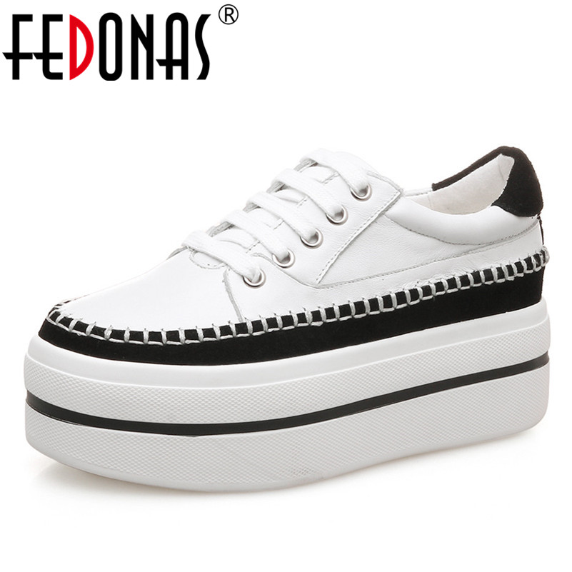 FEDONAS New Women Flats Platforms Casual Shoes Woman Genuine Leather Lace Up Round Toe Flats Shoes Ladies Spring Autumn Flats asumer black fashion spring autumn ladies shoes round toe lace up casual women flock cow leather shoes flats