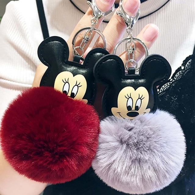 2019 Novo Mouse Porte Mulheres Fluffy clef Chaveiro Pompom Bola Saco De Pele De Coelho Chaveiro llavero Chaveiro sleutelhanger Pompom