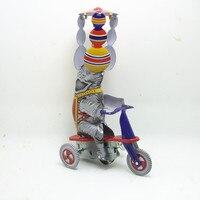 Coleção adulto Retro Vento acima do brinquedo Da Lata do Metal elefante monta um triciclo Mecânica Clockwork toy figuras modelo de criança presente de natal