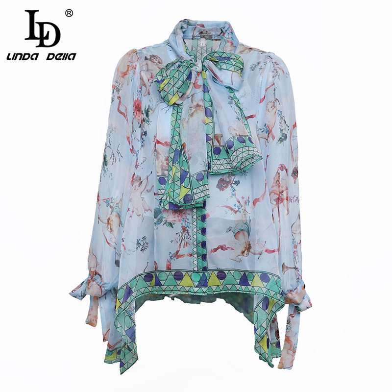 LD LINDA DELLA Floral Print Blouse Summer Women's Long sleeve Bow Collar Casual Shirt High Quality Chiffon Tops female