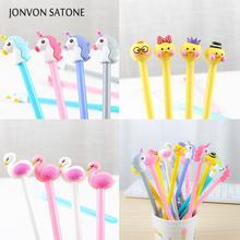 Jonvon Satone 16 Pcs Duck Unicorn Flamingo Gel Stationery Pen Cartoon Animal Neutral Office Student Supplies Pens