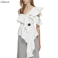 LXUNYI Summer Women Blouses Shirts Women 2019 Sexy Asymmetric One Shoulder Top Chiffon Striped Shirt With Ruffles Elegant Blouse