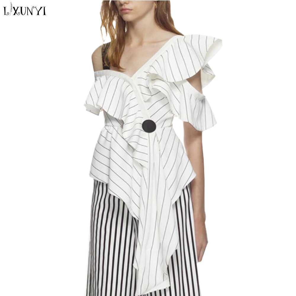 LXUNYI Summer Women Blouses Shirts Women 2018 Sexy Asymmetric One Shoulder Top Chiffon Striped Shirt With Ruffles Elegant Blouse