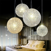 Free Shipping Luxury Crystal Ball Round Led Pendant Light Dining Room Lamp Modern Crystal Hollow Out