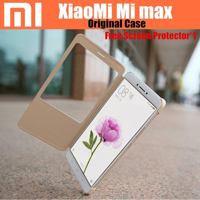 100% original xiaomi mi max caso pc + pu smartwake tampa articulada para xiaomi mi max escudo do telefone móvel