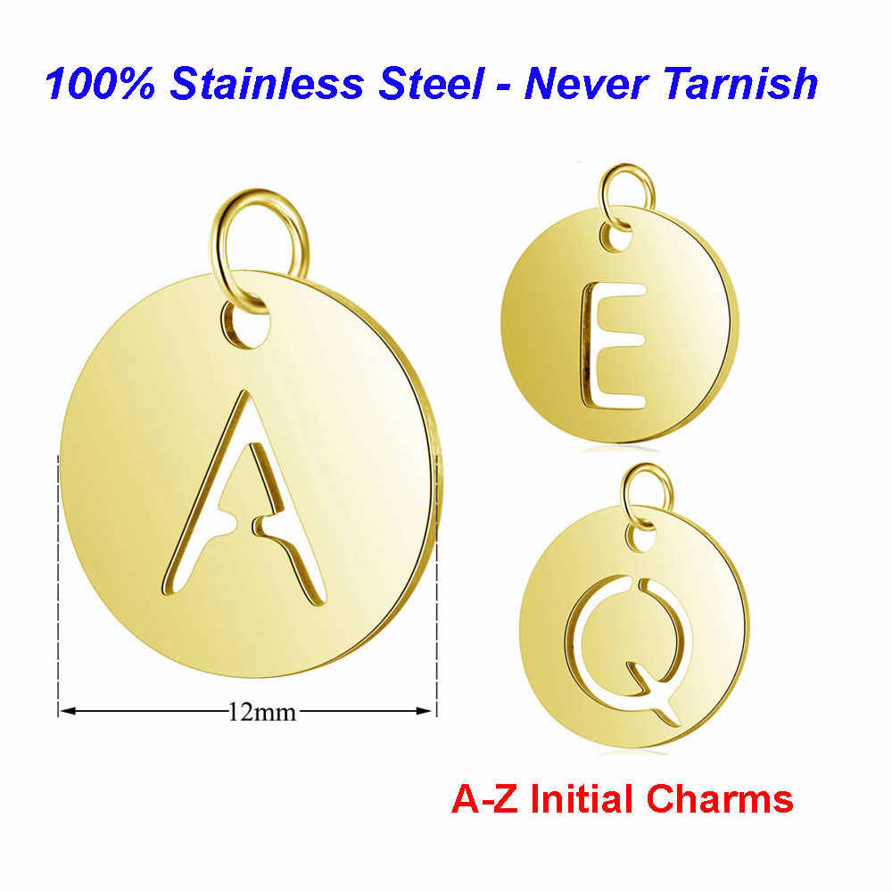 5pcs/lot 100% Stainless Steel Initial Name Charms Vnistar Alphabet Handmade Jewelry Finding Supplies A-Z Letter Charm Pendants