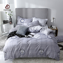 ParkShin Modern Style Bedding Set Geometry Home Textiles ManBedding Gray Adult Bedclothes Bedspread Double Flat Sheet Cover
