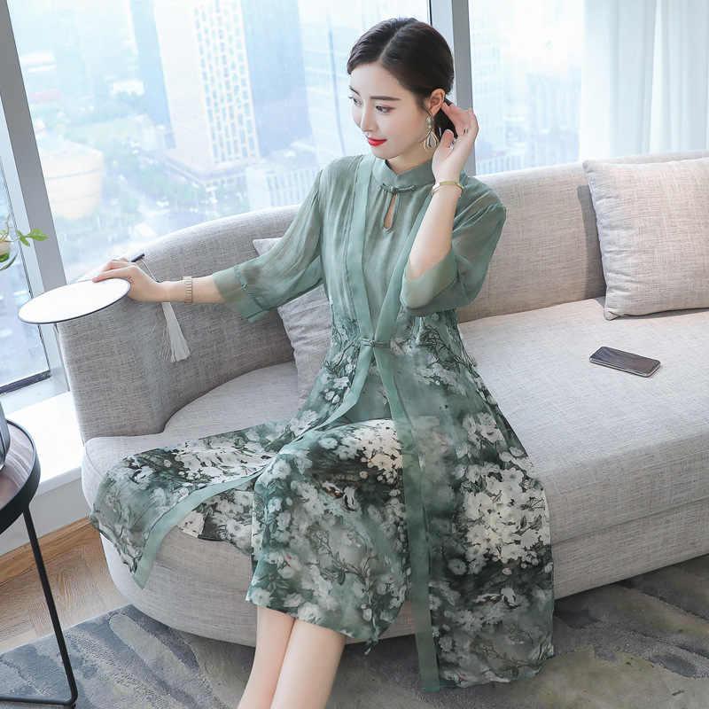 Горячая распродажа лето осень новое китайское ретро платье с воротником-стойкой темперамент длинный Цветок из двух частей искусственного шелка женские платья