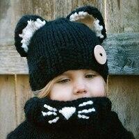2017 nieuwe stijl leuke baby caps cat oor/fox vormige Kids Bomber Beanie Shawl Winter Kinderen Hoeden Handgemaakte Gebreide T