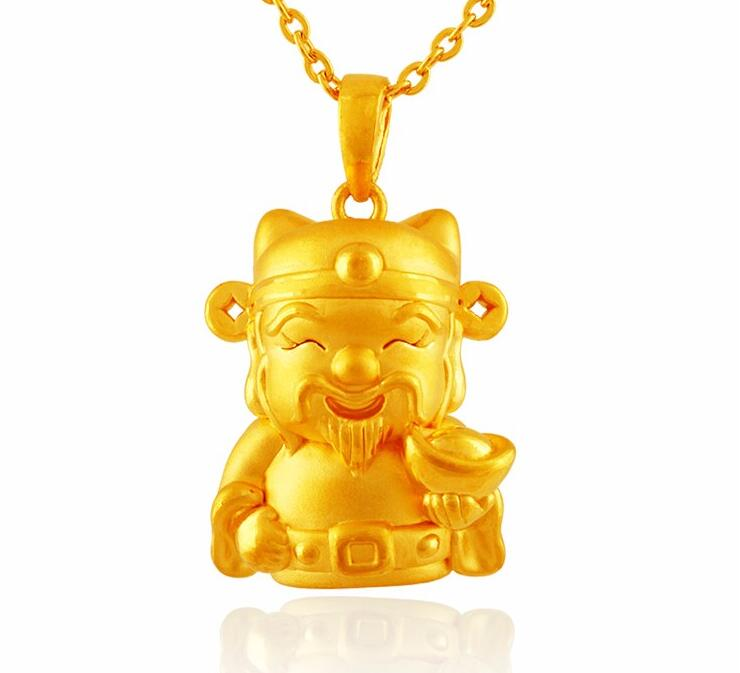 New  Style Real 24k Yellow Gold Pendant 3D Lucky Bless Wealth God PendantNew  Style Real 24k Yellow Gold Pendant 3D Lucky Bless Wealth God Pendant