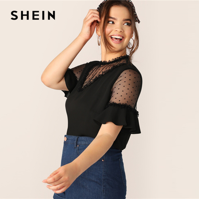 SHEIN Plus Size Black Lace Frill And Mesh Insert Bell Sleeve Top Blouse 2019 Women Summer Elegant Flounce Sleeve Sheer Blouses 1