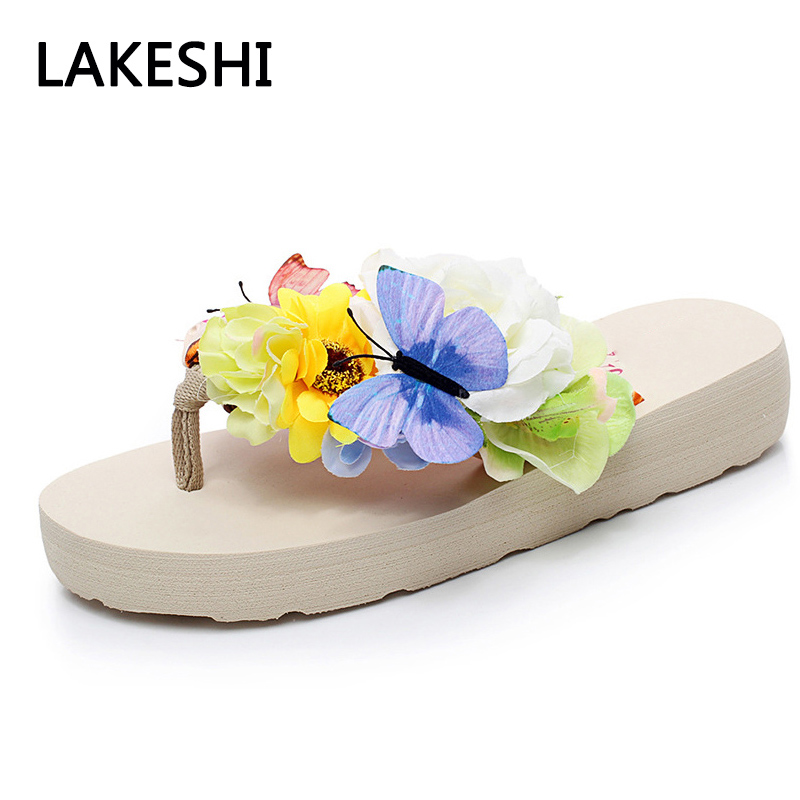 все цены на LAKESHI Women Slippers 2018 Flip Flops Summer Women Sandals Bohemian Beach Shoes Black White онлайн