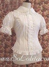 Lolita Ruffled Lace Trim White Cotton Blouse