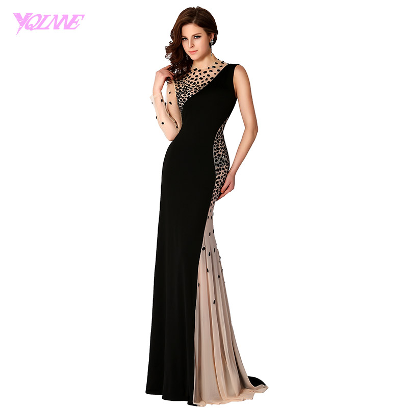 YQLNNE 2018 Black Long Sleeve Prom Dresses Mermaid Evening Gown One Shoulder Crystals Chiffon Party Dress