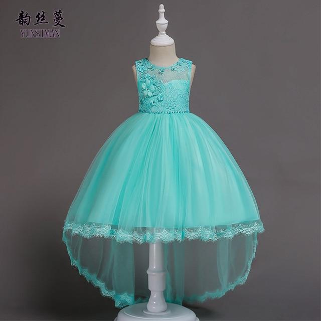 5e1460a1 Vestidos Elegantes para niñas 1-8 10 12 14 años flor bordado perlas fiesta  cola