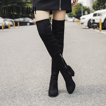 2020 New Suede Leather Women Over The Knee Boots Lace Up Zipper Sexy High Heels Autumn Woman Shoes Winter Women Boots Size 34-39 zbzfsk genuine leather women boots lace up fringe long boots shoes woman autumn winter tassel knee high boots plus size 34 43