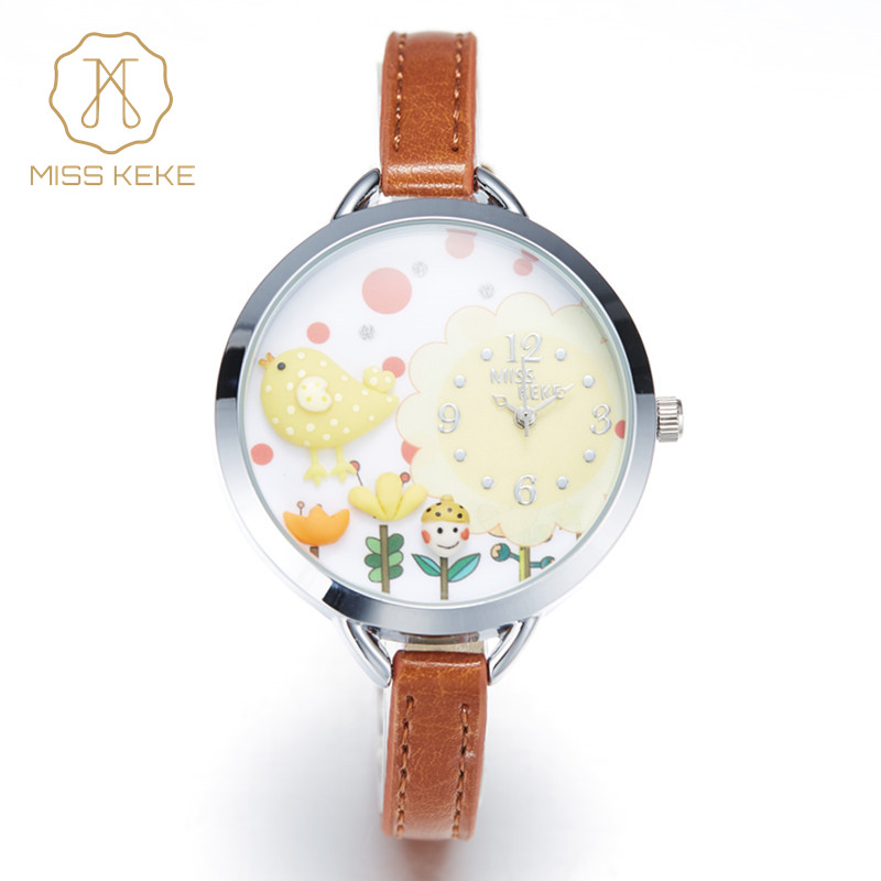 2016 MISS KEKE 3D Clay Cute Mini World Flower Yellow Chicken Bird Watches Girl Kids Children Quartz Leather Wristwatches 821