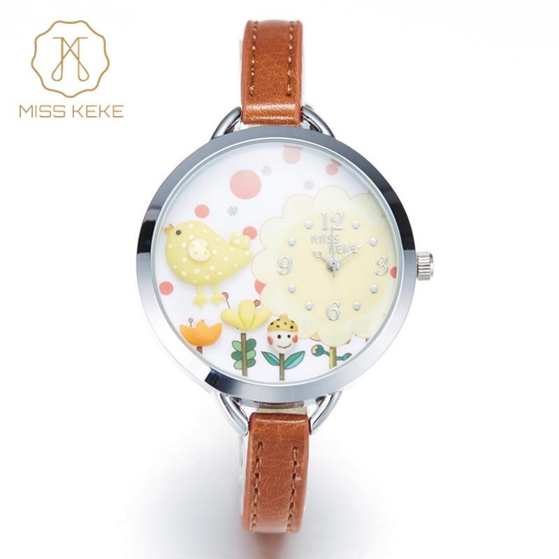 2016 MISS KEKE 3D Clay Gullig Mini World Flower Gul Kylling Fågelklockor Flicka Kids Barn Kvarts Läder Armbandsur 821