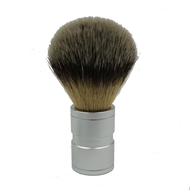 Men Shaving Brush Silver Colored Badger Brushes Barbear Aluminum Handle Brocha Hair Knot Beard Brush for Mens Free Shipping