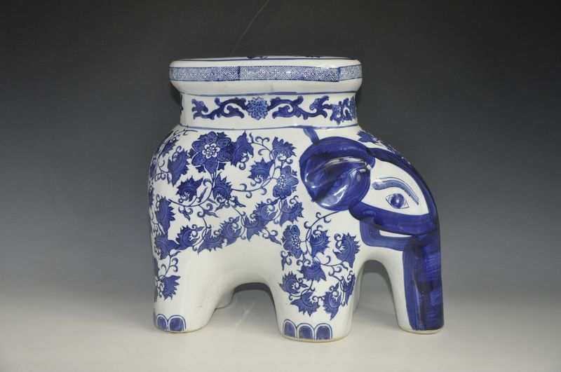China Elephant Blue And White Ceramic Drum Porcelain