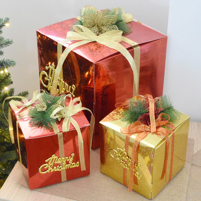 christmas decorations christmas gift boxs square apple gift boxs paper box package ornament christmas tree decoration