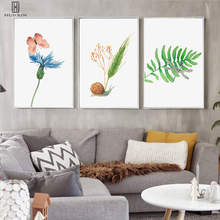 Modern Fresh Decorative Canvas Paintings Green Leaf Tropical Plants Butterfly Snail Grass Wall Art Prints For Home Decor цена 2017