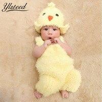 0 2M Newborn Photography Props Super Soft Crochet Baby Yellow Chick Hat Costume Set Cute Kawaii
