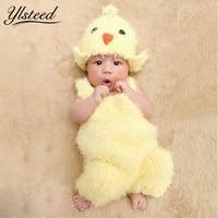 0-2 M Pasgeboren Fotografie Props Super Soft Haak Baby Geel Kuiken Hoed + kostuum Set Leuke Kawaii Baby Fotoshoot