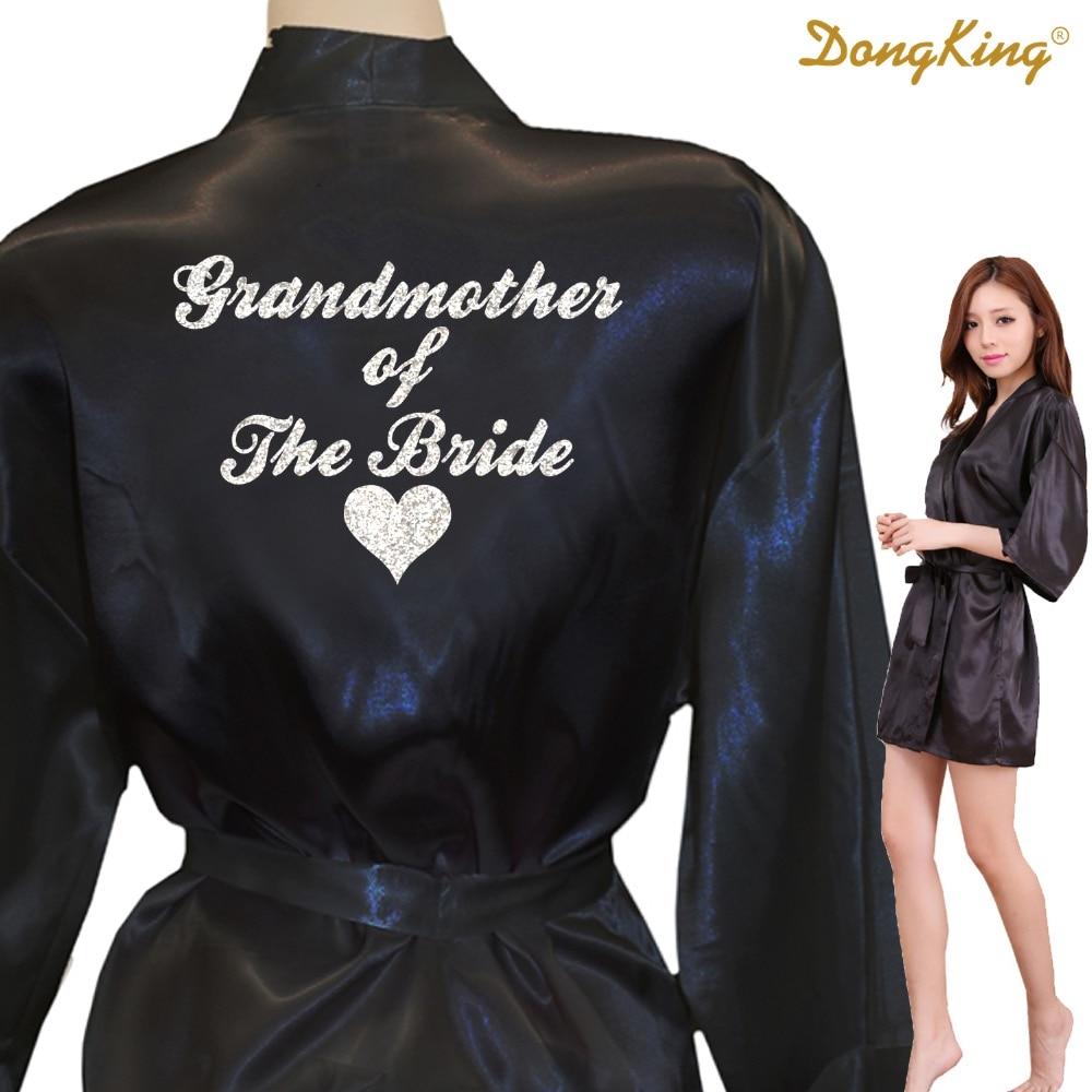 DongKing GROßMUTTER DER BRAUT Roben Großmutter der Braut Goldene Glitter Druck Kimono Robe Braut Satin Roben
