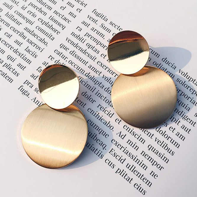 Unique Geometric Round Gold Drop Earrings for Women Trendy  Metal Hanging Statement Vintage Earring Fashion Jewelry Gift