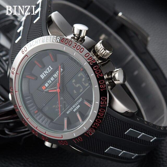 c869379a8458 BINZI reloj Digital hombres Racing relojes impermeable Relogio Masculino  Fitness deporte 2018 reloj Masculino xfcs marca de lujo