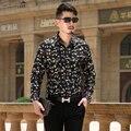 Новый 2016 Осень мужская Творческий Печатных цветок Мужские Рубашки Держать С Длинным Рукавом Рубашка Размер M-3XL Горошек FloralMen Платье рубашка