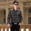 New 2016 Autumn Men's Creative Printed flower Male Shirt Keep Long Sleeve Shirt Size M-3XL  Polka Dot FloralMen Dress Shirt