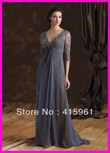 Grey One Piece Beaded Lace Long Sleeve V-Neck Empire Mother Dresses Gowns Chiffon M464