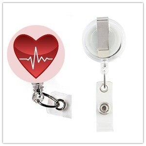 Image 4 - ソートハートビート看護師心臓ナース格納式 ID バッジリール金属クリップ 10 ピース/ロット