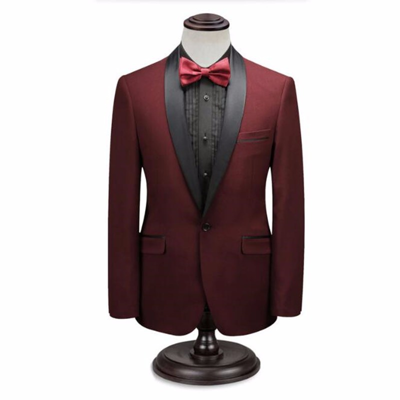 7.1Red and blue men suits jacket shawl collar formal business suits jacket simple fashion groom best man dress jacket