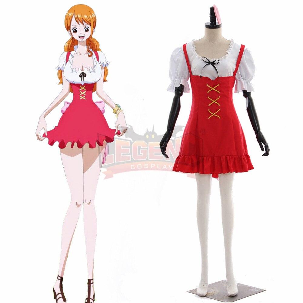 Аниме Одна деталь Nami Косплэй костюм красное платье взрослый костюм изготовление под заказ костюм для Хеллоуина