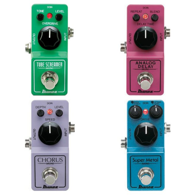 Ibanez Mini Guitar Effect Pedals - TS Mini, Analog Delay, Chorus, Super Metal, 850 Fuzz