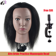 Afro Mannequin Head 100% Real Hair Hairdresser Training Head Manikin Cosmetology Doll Head (Table Clamp Stand Included)