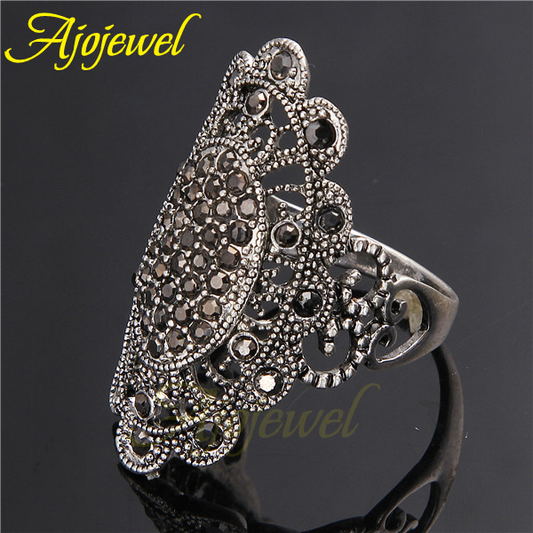 Ajojewel Brand #7-9 Exaggerated Big Retro Black Crystal Rhinestones For Women Ring Vintage Jewelry Party Gift
