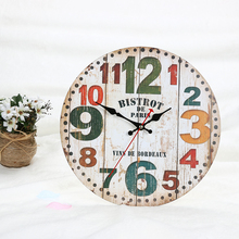 Vintage Circle  Number Mute Wall Clock 30cm Diameter Number Needle Wooden Wall Clock Classical Bedroom Living Room Decor