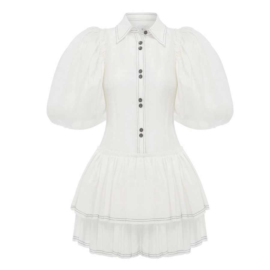 Новое поступление 2019, женское винтажное платье с коротким рукавом, модное Белое Женское платье с оборками, Стильное женское платье, повседневное элегантное платье