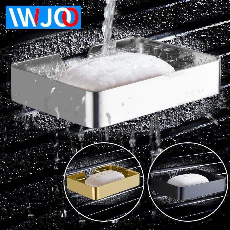 IWJOO Bathroom Soap Dish Wall Mount Stainless Steel Rack Shelf Toilet  Black