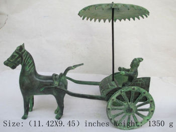 Elaborate Chinese Classical Bronze Antique Collection Horse-drawn Wagon Statue