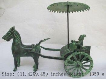 Elaborato Cinese Classico Bronzo Antico Collezione trainata da Cavalli Carro Statua
