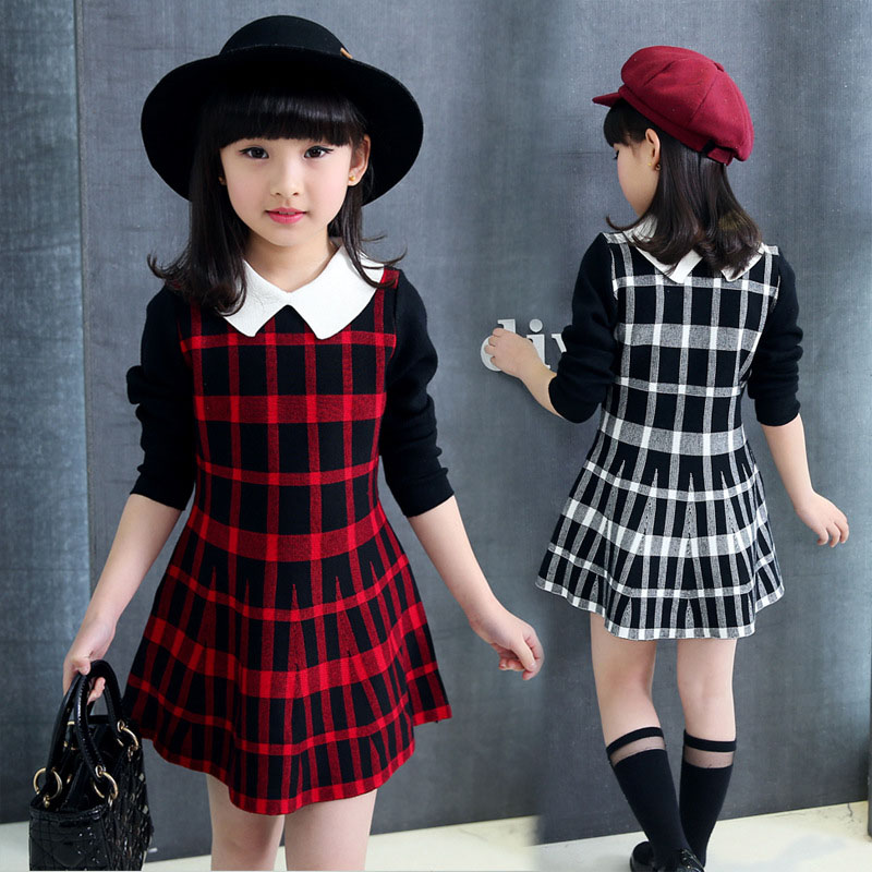 Children Plaid Dresses For Girls Cotton Long Sleeve Dress Autumn Fashion Student Dress For Girls 3 4 5 6 7 8 9 12 Years 2 3 4 5 6 7 8 years girls dress thick velvet autumn winter kids dresses for girls ruffles long sleeve children princess clothing