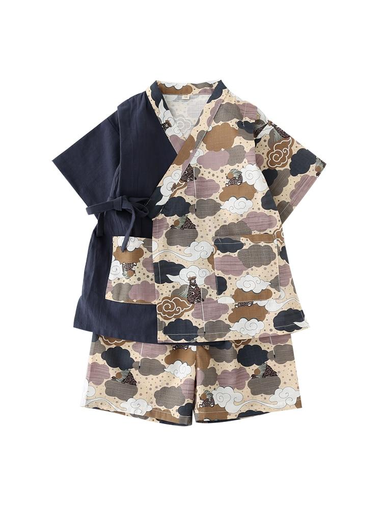 Japanese-style Splice Cotton Kimono Pajamas Children Baby Boys Girls Printing Costume Home Pyjamas Suits Underwear Clothing Z953(China)